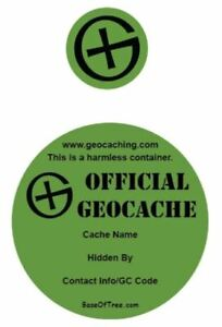 Round Geocache Labels / Stickers for Geocaching Containers - Vinyl Waterproof