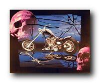Skulls and Black Motorcycle Wall Decor Art Print Poster (16x20)