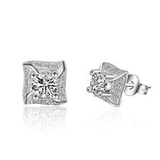 Fashion Jewelry Solid 925 Sterling Silver Inlaid Zircon Ear Stud Earrings