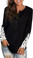 Womens Tops Long Sleeve Button Down Lace Shirts Blouse for Women (Black,Size:L)