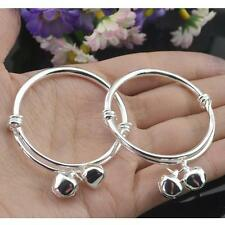 2pcs 925 Silver Baby Kids Bell Bracelet Bangle Fashion Xmas Gift Birthday Gift