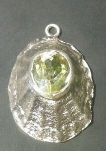 Limpet shell solid silver 925 pendant sand casted 6.5 grams with citrine 3.5 cts