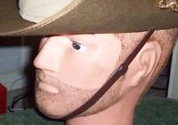CHIN STRAP BROWN LEATHER FOR AUSSIE SLOUCH HAT - NEW MINT
