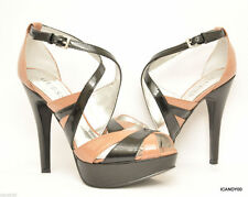 New Guess JACLYN Strappy Platform Pump Sandal Patent Heel Brown/Black 9.5