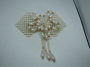"Beautiful Hair Jewelry Barrette White Gold Beads Dangle 4 1/2 x 4 1/2"" WOW"