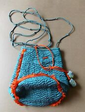 Immaculate Hand Crafted Turquoise & Orange Indian Silk Women's Evening Bag