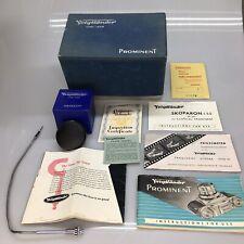 Vintage Original Voigtlander Prominent Camera Box, Manual, Body Cap, And Misc -