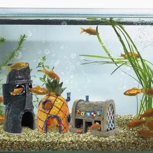 Aquarium Decor 3PC SpongeBob Fish Tank Accessories Pineapple House Easter Island