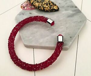 Hot Fashion Full Of Red Czech Crystal Size Adjustable Open Bracelet Bangle UK