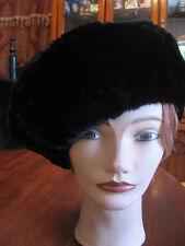 "#X10  fit 25"" 26"" inches unisex beret beanie jet black sheared beaver fur hat"