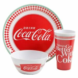 """12 Piece Coca-Cola Dinnerware Set """"Things Go Better With Coke"""" Classic, Melamine"""