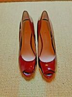 KG Kurt Geiger Red Wine Patent High Peep Toe Shoe Size 6/ 39