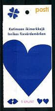 Finland 2017 MNH Blue Heart 5v S/A Booklet Hearts Stamps