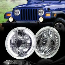 "7"" Round H6014/H6017/H6024 White LED Ring Chrome Diamond Projector Headlights"