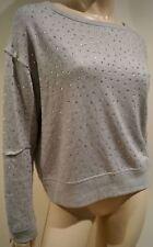 ALICE & OLIVIA Pale Grey Beaded Diamante Scoop Neck Modal Jersey Sweatshirt Top
