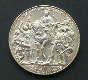 """Preussen 3 Mark 1913 Wilhelm II. """" der König rief """" Silber J110 Kaiserreich  Vz."""