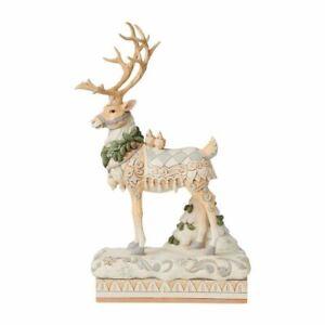 Jim Shore HWC White Woodland Reindeer Centerpiece - 6008870