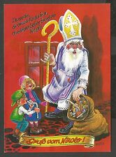 Santa Claus in Puprle Coat with Candies, Christmas, Old Postcard 70's or 80's