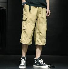 Casual Outdoor Men's Cotton Cargo Pockets Short Pants Overalls Straight Shorts