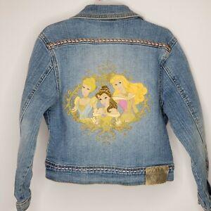 Disney Store Girl Princess Jacket Denim Youth Size 5-6 Aurora Belle Cinderella