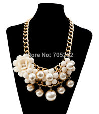 Cream Gold Pearl Statement Fashion Necklace & Matching Earrings, Acrylic Beads