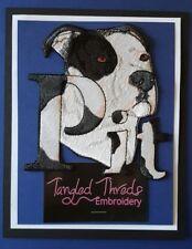 Pitbull Dog,Staffordshire, Pit Bull, Bulldog, Embroidered Patch Black & White