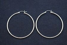 """2"""" 2mm X 50mm Plain Polished Round Hoop Earrings Real 925 Sterling Silver"""