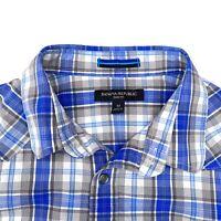 Banana Republic Medium Slim Fit Gray Navy Plaid Button Long Sleeve Dress Shirt