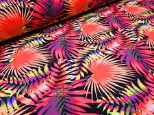 Stoff Stretch Badeanzugstoff Dschungel Blätter orange pink gelb Tanzsportstoff