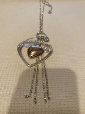 """""""GUESS"""" SILVER TONE LINK CHAIN LARGE CRYSTAL HEART/KEY/LOCK PENDANT NECKLACE,38"""""""