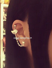 Tiny Bird Charm Heart Stud Cartilage Chain Helix Cuff Earring Elegant Simple