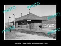 OLD LARGE HISTORIC PHOTO OF MERRITT BC CANADA, THE RAILWAY STATION c1950