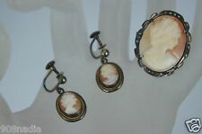 VINTAGE STERLING SILVER MARCASITE & CARVED CAMEO PORTRAIT PENDANT EARRINGS SET