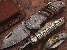 Beautiful Custom hand made Damascus steel Folding knife With Sheath. Ze-5060-Rd