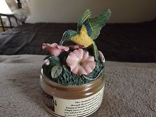 Aromatherapy VANILLA BEAN Scented CANDLE SPOONTIQUES Hummingbird & Flower Topper