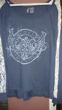 """New Direction Weekend Womens 3X Navy Blue and Lace Top """"Love Your Life"""""""