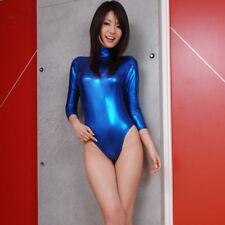 Women Metallic Shiny Wet Look One Piece Swimwear Swimsuit Beachwear Surfing Suit