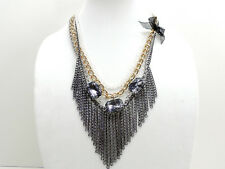 Guess Multi Tone Fringe Statement Layer Necklace New! NWT