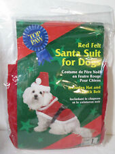 Red Felt Santa Suit for Dogs Size Large Top Paw No Hat