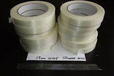 12 ROLLS  18mm X 50m  EXTRA STRONG REINFORCED STRAPPING MONOWEAVE FILAMENT TAPE