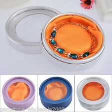 1Box Paper Round Watch Bracelet Box With PVC for Jewelry Necklace Packaging Box