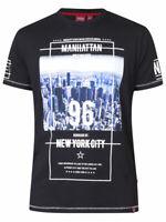 D555 Kingsize Mens Black Manhattan NYC Print Tshirt (ETHAN-1)