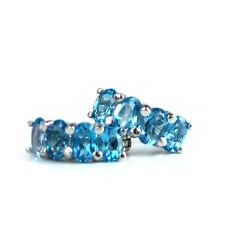Ohrstecker Silber 925 echte Blautopas Steine, 14K weißgoldvergoldet Ohrringe