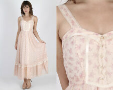 Vintage 70s Peach Gunne Sax Dress Floral Lace Boho wedding Hippie Long Maxi Xs