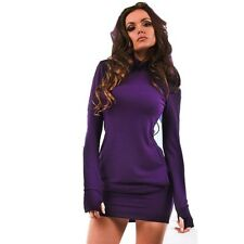 Sexy Women Cotton Long Sleeve Bodycon Dress Evening Party Clubwear Mini Dress CA