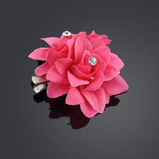 Haarblüte Haarclip Haarspange mit 2 Stoff  Blumen Strass Hochzeit  11 Farben