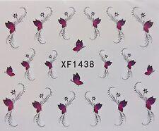 Nail Art calcomanía Rosa Y Negro De La Mariposa Y remolinos de transferencia de Agua Decal Sticker 1438