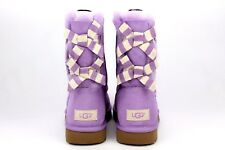 UGG BAILEY BOW STRIPE LILAC BLOOM SUEDE SHEEPSKIN BOOTS SIZE 8 US RARE!