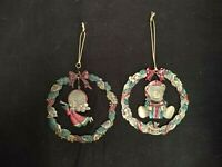 SET OF 2 VINTAGE BRASS WREATH CHRISTMAS TREE ORNAMENTS ANGEL & BEAR GREEN RED