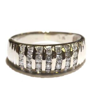 14k white gold .70ct SI2 H diamond cluster dome ring 4.1g estate vintage 6
